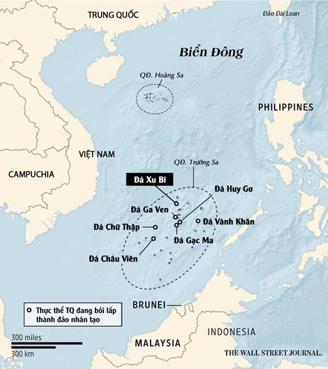 Các đảo nhân tạo mà Trung Quốc bồi lấp trái phép ở quần đảo Trường Sa của Việt Nam trên Biển Đông. (Ảnh: Wall Street Journal.)