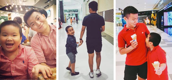 Ngoài mắt mũi miệng khuôn mặt ra, hai cha con vẫn muốn mặc thêm áo đồng phục cho giống nhau trọn bộ. (Ảnh qua BrightSide)