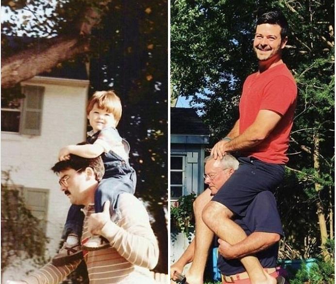 Dù con có lớn thế nào vẫn là con của bố. (Ảnh qua BrightSide)