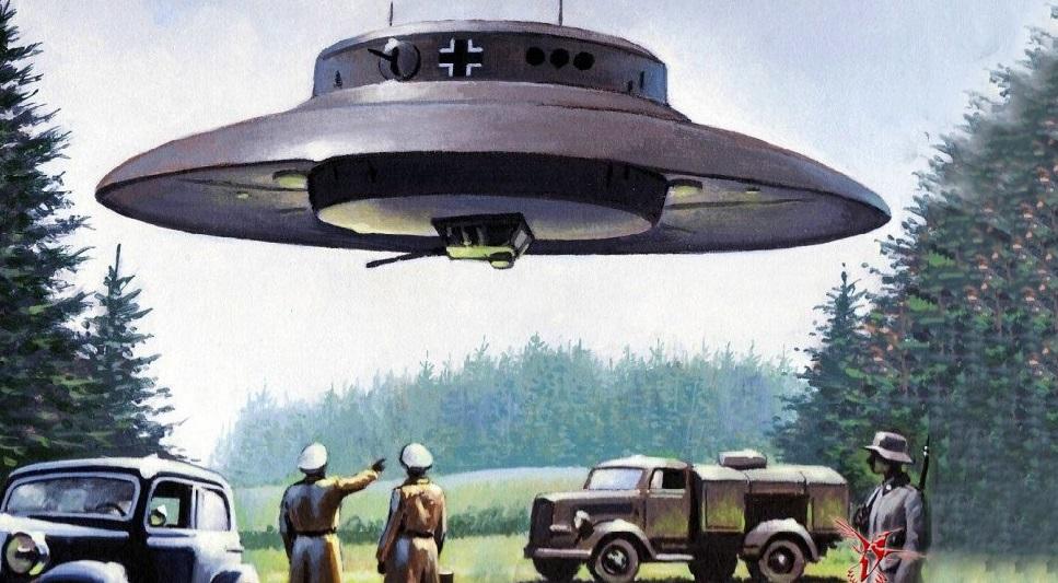 Một số người từng báo cáo nhìn thấy UFO xuất hiện. Trên đĩa bay có biểu tượng dấu thập ngoặc chết chóc của phát xít Đức. (Ảnh qua vestnikk.ru)