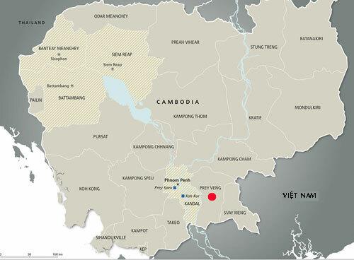 Vị trí tỉnh Prev Veng (chấm đỏ) của Campuchia.