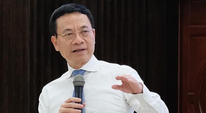 Bộ trưởng Bộ Thông tin Truyền thông Nguyễn Mạnh Hùng tại buổi gặp gỡ chiều 15/7.