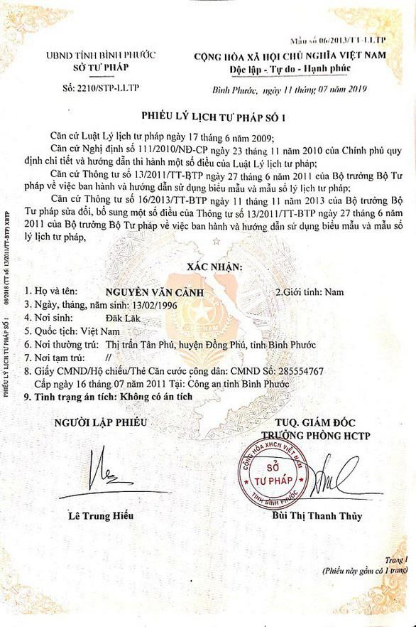 Tờ phiếu lý lịch tư pháp sau đó xác nhận lại anh Cảnh không có án tích
