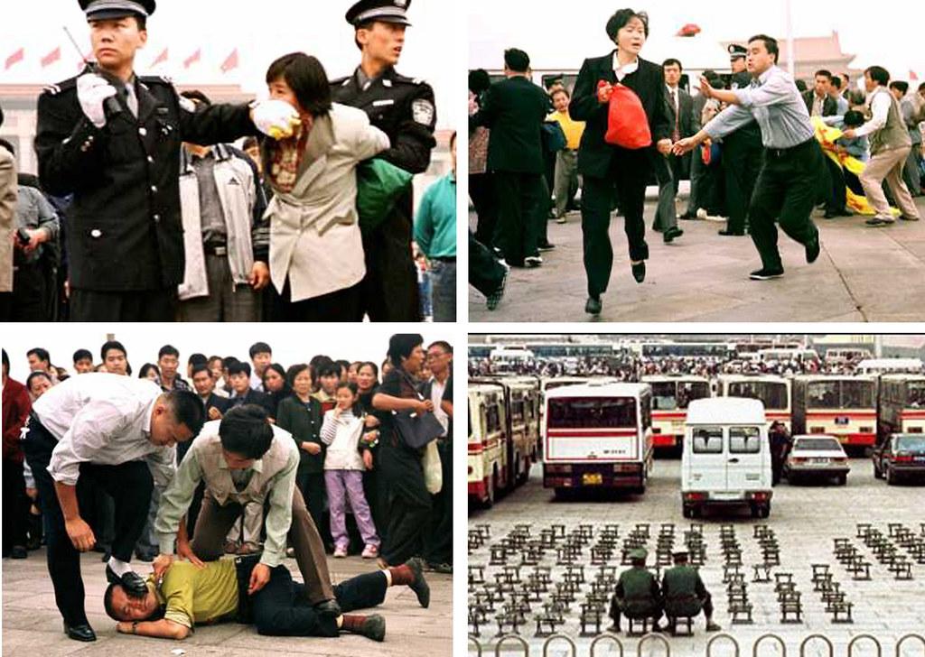 Hình ảnh đàn áp người tập Pháp Luân Công tại nhiều nơi. (Ảnh qua Fiveprime)