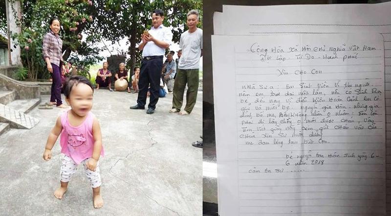 Bé gái một tuổi bị bỏ rơi cùng bức thư của người mẹ trẻ