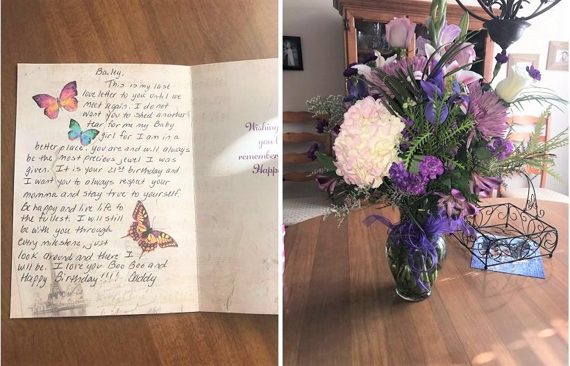 """""""Bố tôi mất vì căn bệnh ung thư năm tôi 16 tuổi, trước khi ra đi ông đã đặt mua trước những bó hoa để tặng tôi vào ngày sinh nhật hàng năm cho đến khi tôi 21 tuổi. Đây là những bông hoa cha tặng tôi vào ngày sinh nhật thứ 21 và bức tâm thư cuối cùng của ông. Nhớ cha rất nhiều"""". (Ảnh qua Bright Side)"""