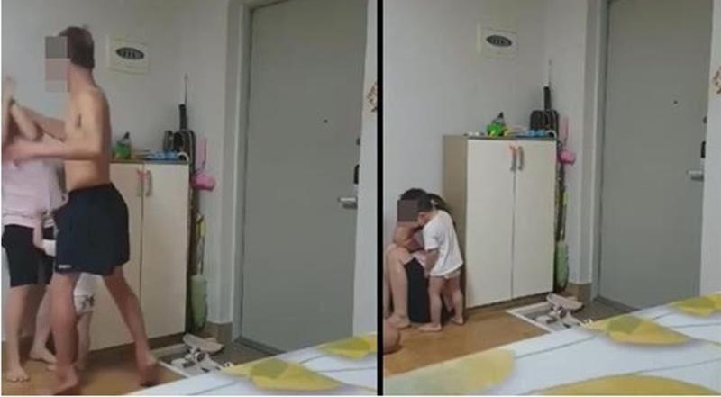 Các hình ảnh cắt từ video cho thấy người chồng đánh đập vợ trước mặt con.