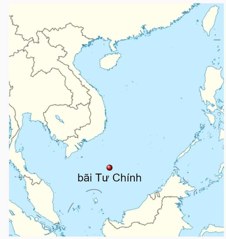 Vị trí của Bãi Tư Chính, tin biển Đông.