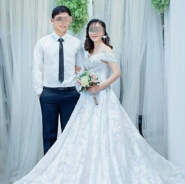 Hình ảnh vợ chồng chị T. hạnh phúc trong ngày cưới.