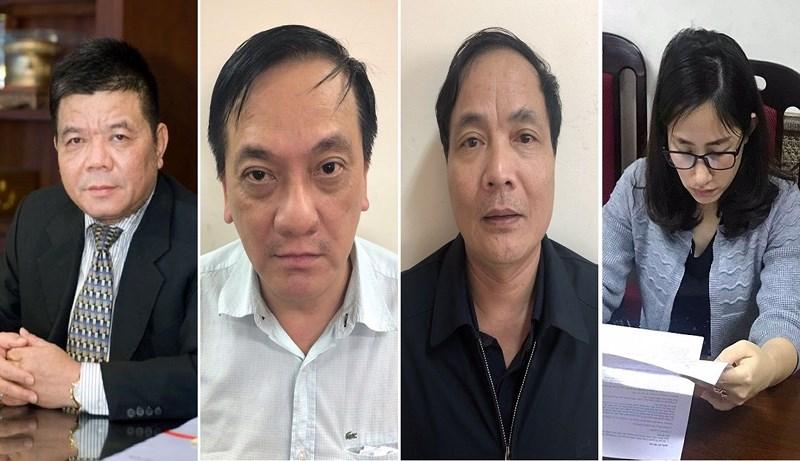 Từ trái qua là các bị can: Trần Bắc Hà, Trần Lục Lang, Kiều Đình Hòa và Lê Thị Vân Anh.