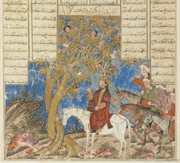 Hình vẽ minh họa cảnh Alexander Đại đế gặp cây thần. (Ảnh qua Bestiary.us)
