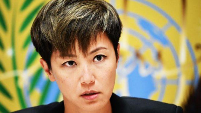 Ca sĩ, nhà tranh đấu cho dân chủ Hồng Kông, Hà Vận Thi (Denise Ho), trong cuộc họp báo Geneve, ngày 08/07/2019.