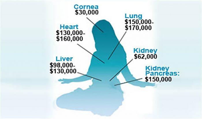 Các bộ phận của cơ thể người được rao bán với những mức giá khác nhau - mổ cướp nội tạng