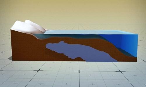 Hình ảnh mô phỏng hồ nước ngọt dưới đáy đại dương. (Ảnh qua VnExpress)