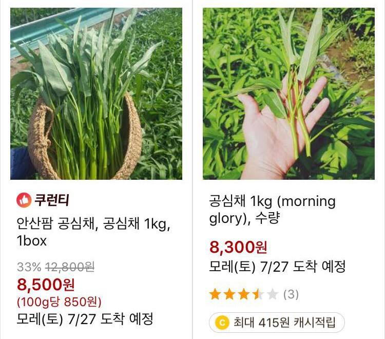 Rau muống ở Hàn có giá 8300 - 8500 won, tương đương khoảng 170k. (Ảnh qua Kênh 14)