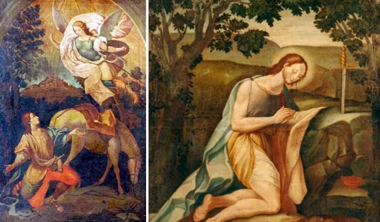 Tranh miêu tả cảnh tượng Thánh Galgano gặp Tổng lãnh Thiên Thần Michael và chứng kiến thần tích thanh gươm đâm xuyên đá. (Ảnh qua InfoUno.cl)