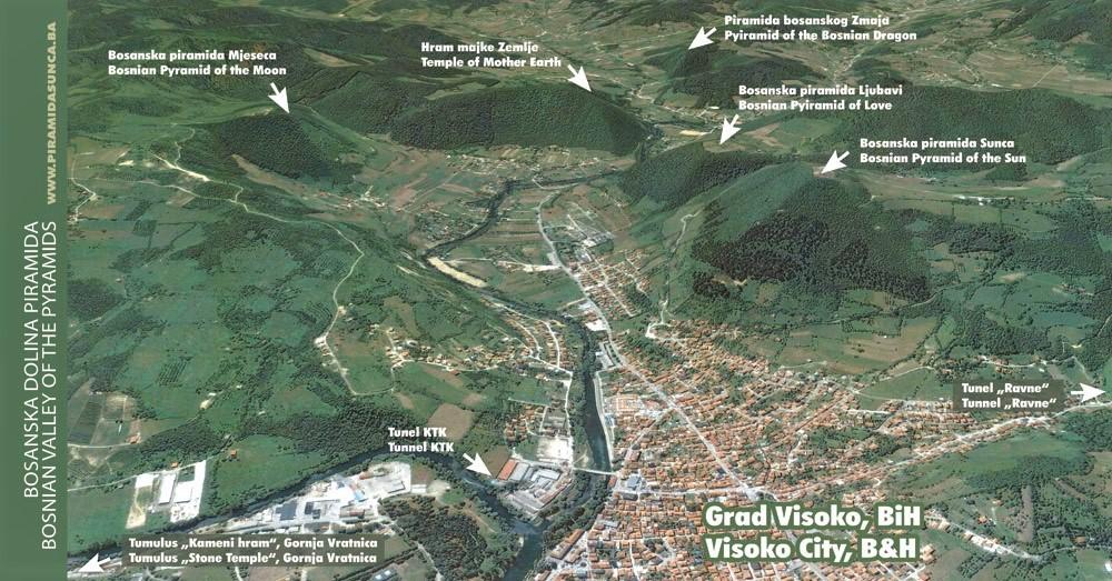 Sơ đồ vị trí các kim tự tháp trong thung lũng gần thị trấn Visoko. (Ảnh qua Ciencia y espiritualidad)