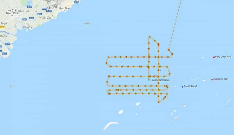 Đồ thị đường đi của tàu thăm dò địa chấn Haiyang Dizhi 8 của Trung Quốc trên biển Đông từ (3-11/7). (Ảnh qua SCMP)