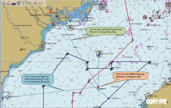 Vị trí tàu cá NA 95899 TS bị chìm nằm cách đảo Bạch Long Vĩ, TP Hải Phòng khoảng 34 hải lý .