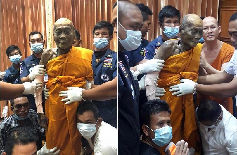 Thân thể bất hoại của nhà sư Thái Lan sau 2 tháng viên tịch. (Ảnh: Facebook)