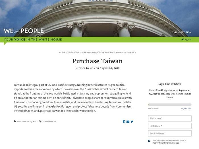"""Đơn thỉnh nguyện """"Hãy mua Đài Loan"""" đăng trên trang We the People. (Ảnh chụp màn hình)"""