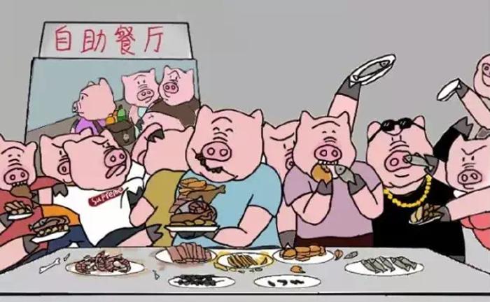 Bức ảnh người Trung Quốc giành giật thức ăn tại tiệc buffet.