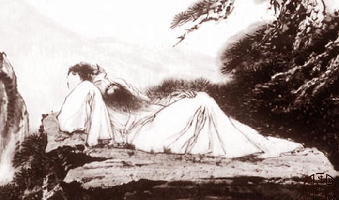 Tô Đông Pha nằm trên đá. (Ảnh: Pinshiwen)