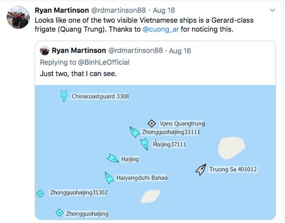Nhà nghiên cứu về hải quân Trung Quốc của Mỹ, Ryan Martinson cho rằng Việt Nam đã cử tàu chiến hiện đại tới Bãi Tư Chính. (Ảnh qua tuoitre)