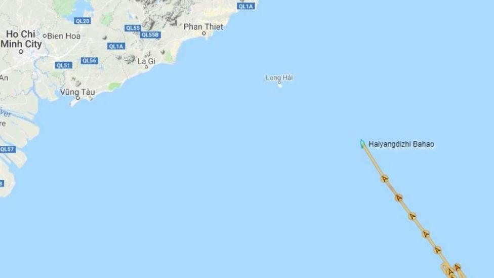 Chuyên gia Ryan Martinson đăng bản đồ vị trí tàu Hải Dương Địa Chất 8 trong buổi sáng ngày 24/8 (giờ Việt Nam). (Ảnh qua bbc)