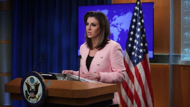 Phát ngôn Bộ ngoại giao Hoa Kỳ Morgan Ortagus. (Ảnh qua bbc)