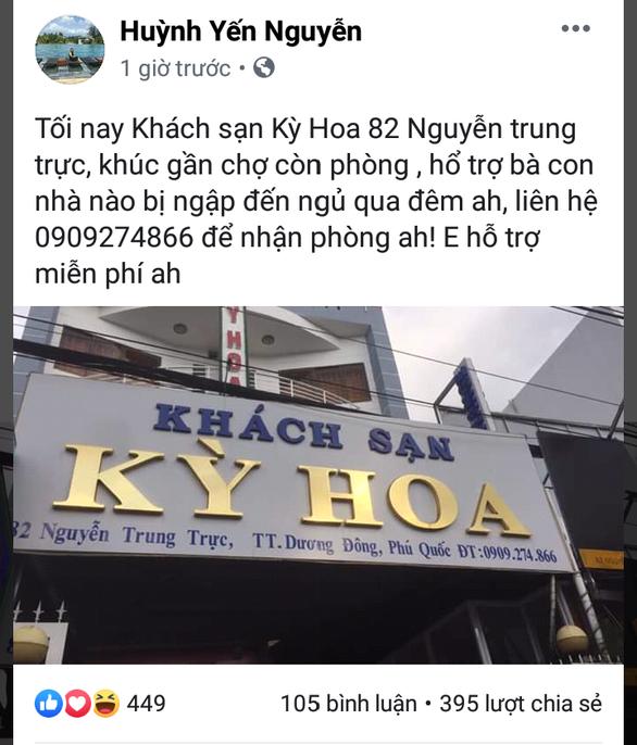 Chủ khách sạn lên Facebook mời bà con bị ngập tới tá túc
