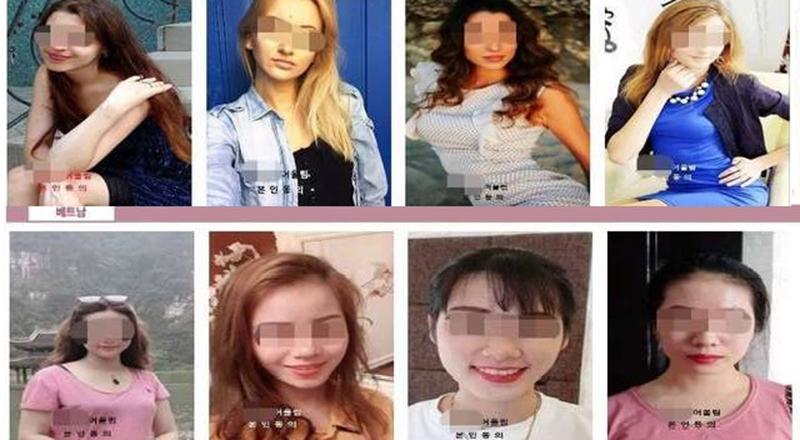 Hình ảnh các cô dâu ngoại được một cơ sở môi giới hôn nhân Hàn Quốc đăng tải trên mạng.