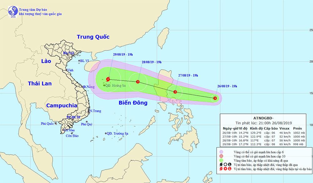 Áp thấp nhiệt đới trên vùng biển của Philippines có khả năng tiến vào Biển Đông và ảnh hưởng đến thời tiết nước ta trong ngày 28-29/8
