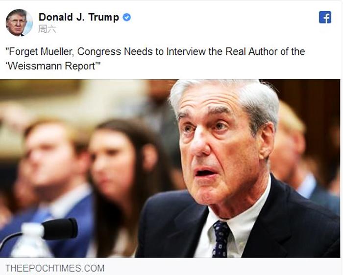 Ngày 27/7, Tổng thống Trump đã đăng tải bài viết của Thời báo Epoch Times tiếng Anh trên Facebook. (Ảnh chụp màn hình Facebook)