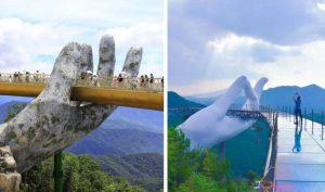 """Xuất hiện """"cầu Vàng Đà Nẵng"""" phiên bản Trung Quốc, chỉ khác nhau mỗi một ngón tay"""