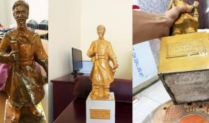 'Tá hoả' phát hiện tượng Đức Thánh Trần giá 15 triệu nhưng dát vàng giả bên trong nhét xi măng