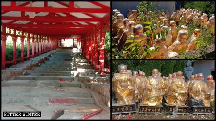 101 bức tượng La Hán và 9 bức tượng thiên tướng đã bị dỡ bỏ.