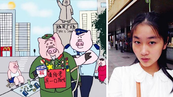 """Trương Mỗ Ninh, 22 tuổi, đã sáng tác loạt truyện tranh """"mình người đầu lợn"""" bị cho là xúc phạm hình ảnh người Trung Quốc."""