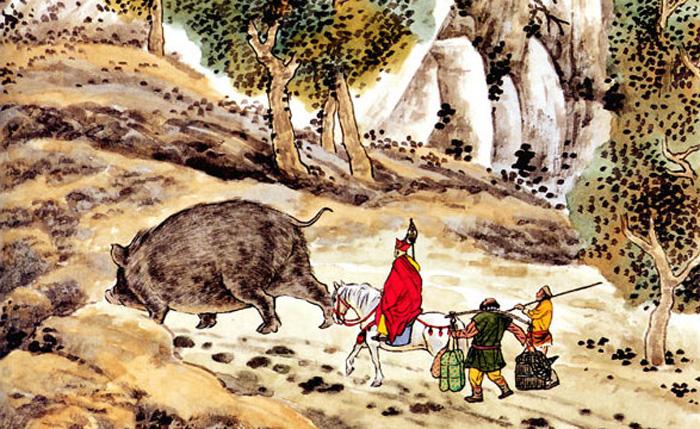 Bát Giới biến thành con heo lớn, ủi cho thành một con đường, để cho thầy trò Đường Tăng có thể đi qua.