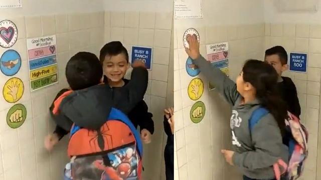 Cô Zelene Blancas cho biết hàng ngày, học sinh của cô chào nhau như vậy hai lần một ngày