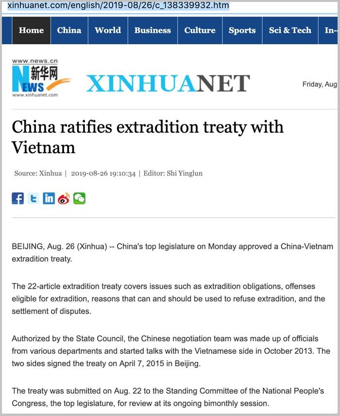 Ảnh chụp màn hình bản tin Tân Hoa Xã về Hiệp định Dẫn độ hai nước Việt – Trung vừa ký.