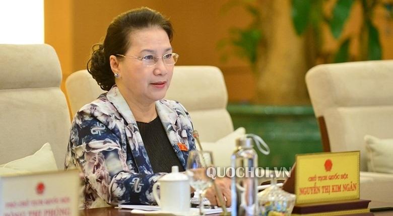Chủ tịch Quốc hội Nguyễn Thị Kim Ngân tại phiên họp. (Ảnh qua quochoi)