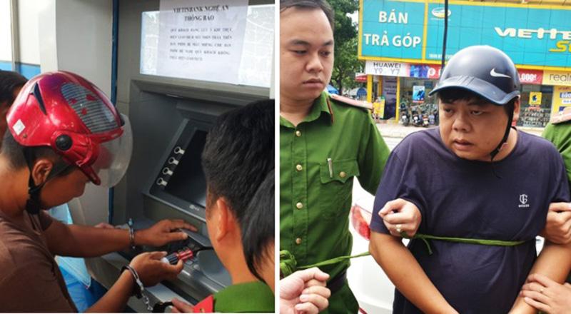 Bắt 3 người Trung Quốc gắn thiết bị điện tử vào máy ATM đánh cắp mật khẩu, rút tiền. (Ảnh qua dkn)