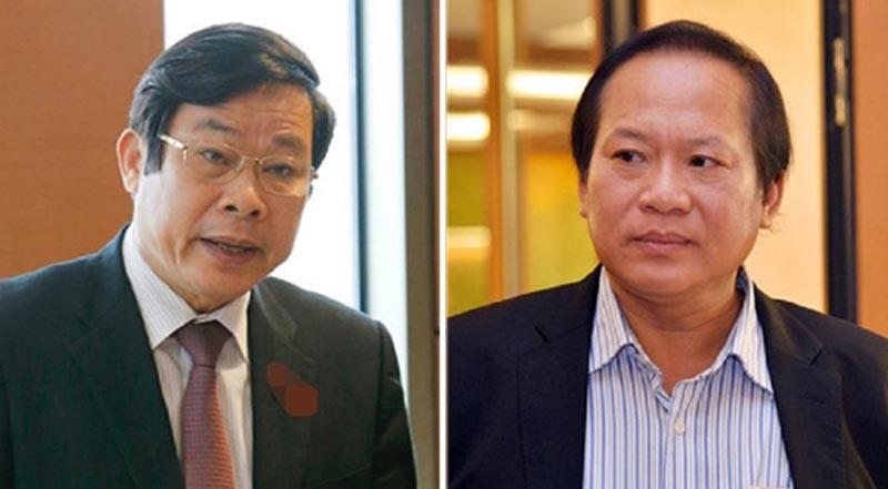 Hai cựu bộ trưởng Nguyễn Bắc Son và Trương Minh Tuấn (từ trái qua). (Ảnh qua VOV)