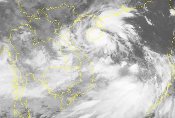 Hình ảnh mây vệ tinh của áp thấp nhiệt đới. (Ảnh qua tuoitre)