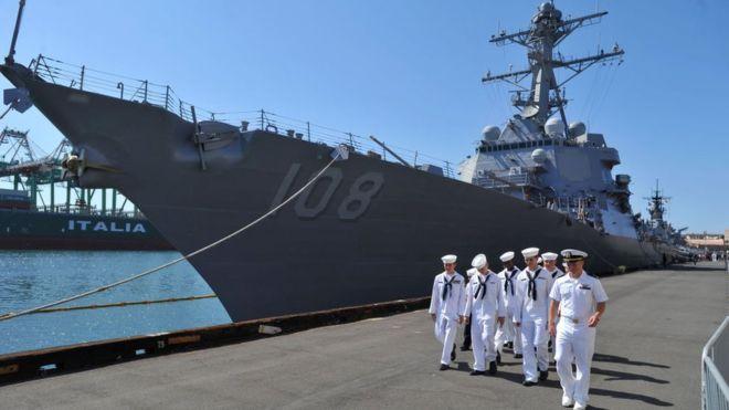 Khu trục hạm Wayne E. Meyer trong cảng Los Angeles hồi 2012. (Ảnh qua bbc)