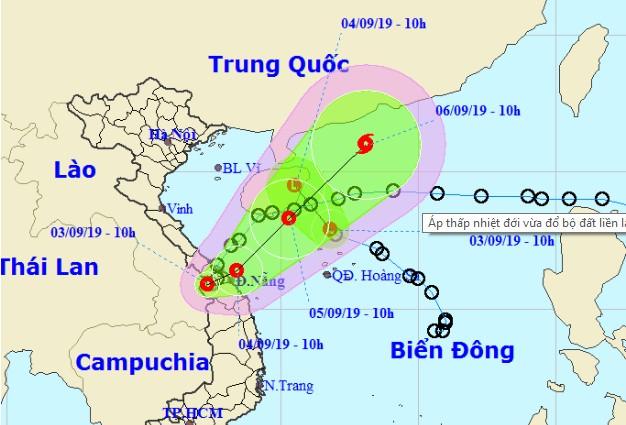 Dự báo vị trí và hướng di chuyển của áp thấp nhiệt đới. (Ảnh qua nld)