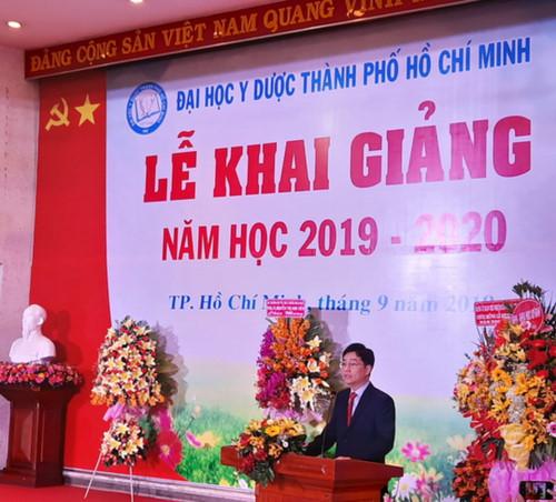 PGS.TS Trần Diệp Tuấn, Hiệu trưởng Trường ĐH Y dược TP.HCM phát biểu tại buổi lễ.