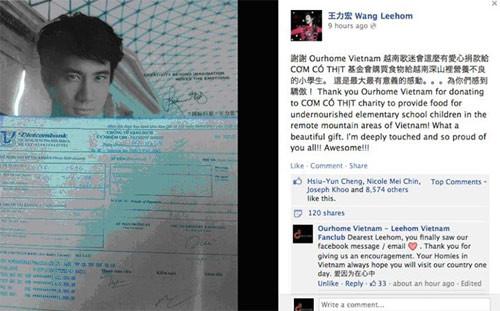 Lời cám ơn Vương Lực Hoành gửi đến người hâm mộ Việt Nam.