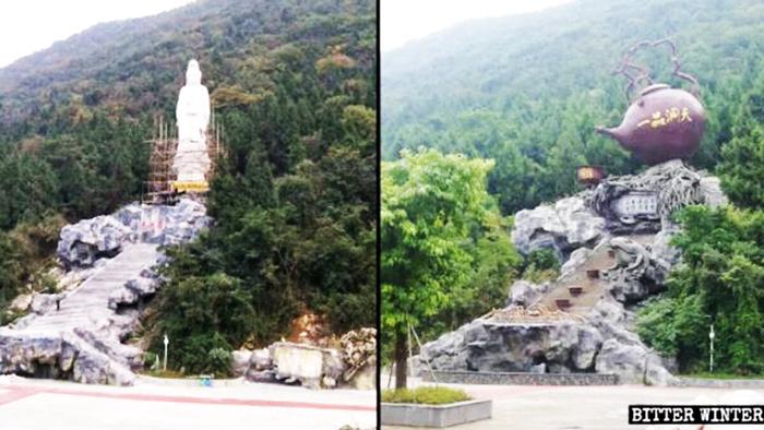 """Một bức tượng Quan Âm ở Tứ Xuyên đã bị thay bằng một """"Ấm trà lớn""""."""
